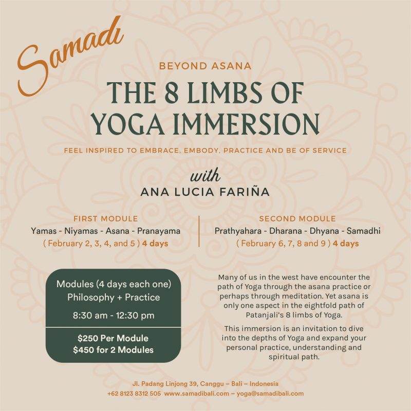 The 8 limb of yoga immersion